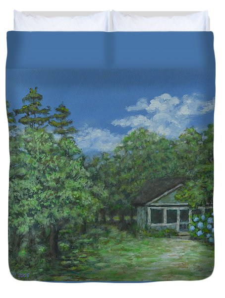 Duvet Cover featuring the painting Pawleys Island Blue by Kathleen McDermott