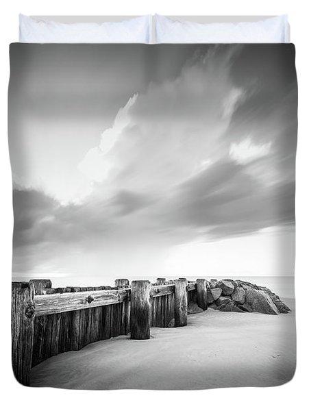 Pawleys Island Groin Sunrise Bw Duvet Cover