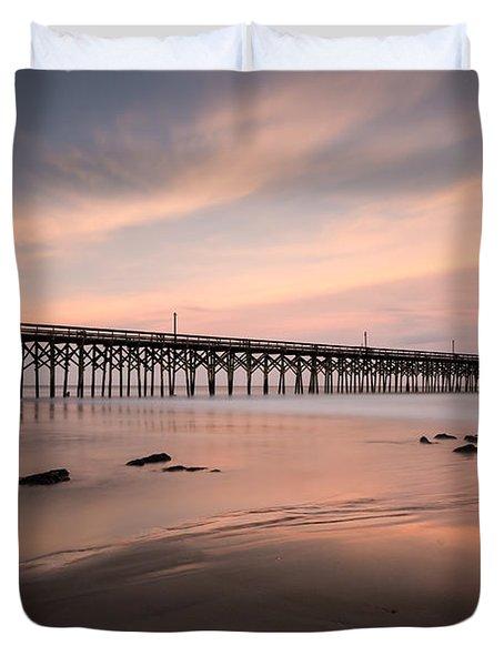Pawleys Island Pier Sunset Duvet Cover