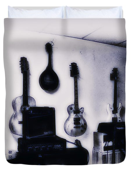 Pawn Shop Guitars Duvet Cover by Bill Cannon