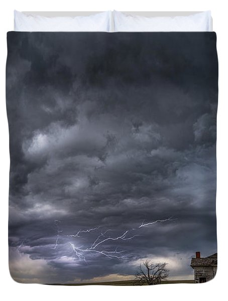 Duvet Cover featuring the photograph Pawnee School Storm by Darren White