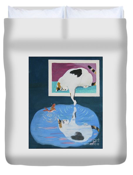 Duvet Cover featuring the painting Paws And Effect by Phyllis Kaltenbach