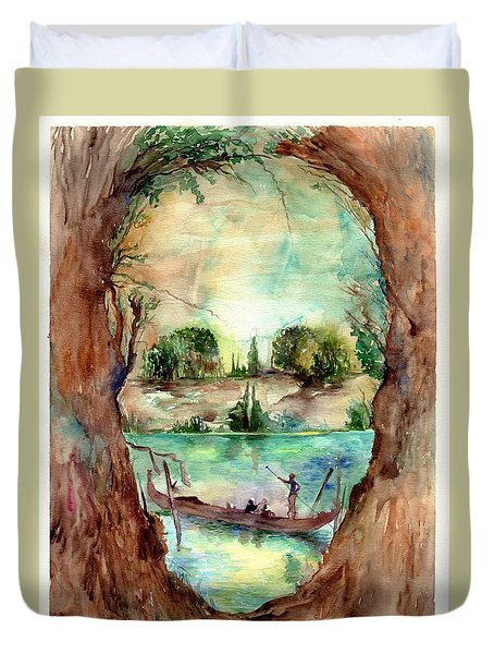 Paysage With A Boat Duvet Cover