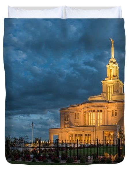 Payson Temple Panorama Duvet Cover