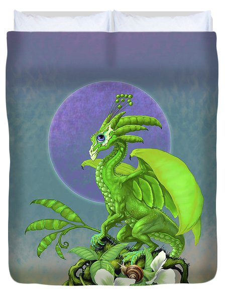 Duvet Cover featuring the digital art Pea Pod Dragon by Stanley Morrison
