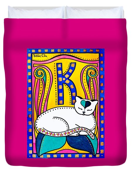 Peace And Love - Cat Art By Dora Hathazi Mendes Duvet Cover by Dora Hathazi Mendes