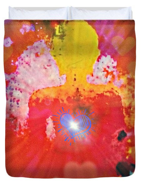 Peace And Love Meditation Duvet Cover
