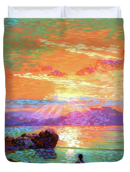 Peace Be Still Meditation Duvet Cover