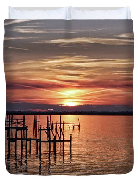 Peace Be With You Sunset Duvet Cover