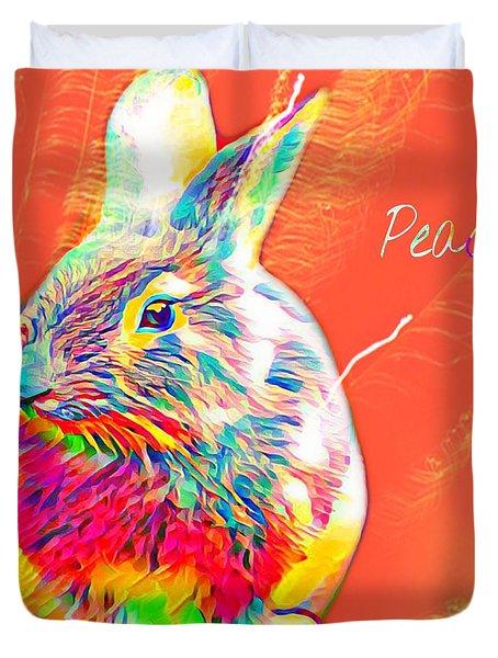 Peace Bunny Duvet Cover