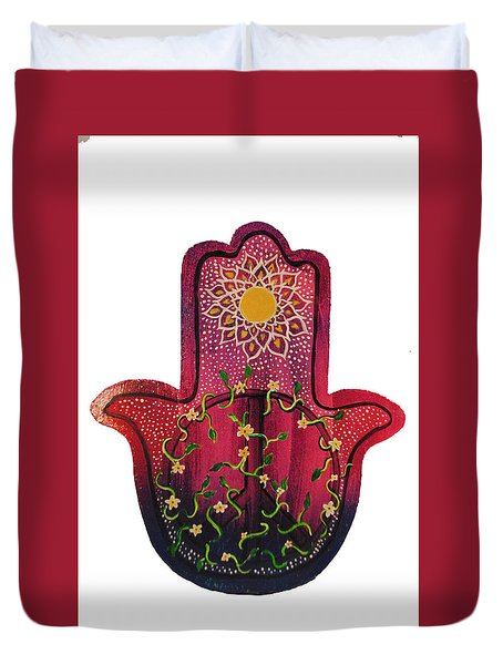 Duvet Cover featuring the painting Peace Hamsa by Patricia Arroyo