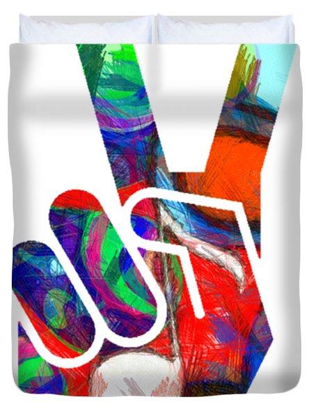 Peace Hippy Paint Hand Sign Duvet Cover