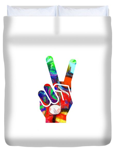 Peace Hippy Paint Hand Sign Duvet Cover
