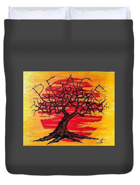 Duvet Cover featuring the drawing Peace Love Tree by Aaron Bombalicki