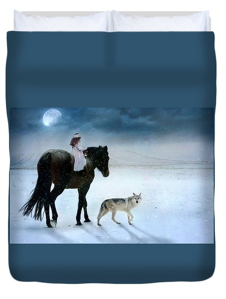 Duvet Cover featuring the digital art Peace On Earth by Dorota Kudyba