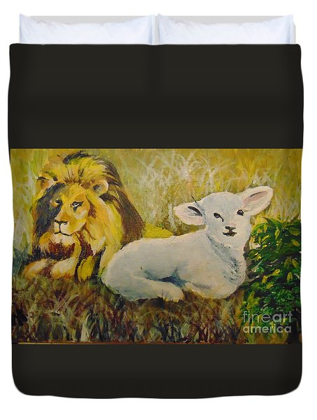 Duvet Cover featuring the painting Peace by Saundra Johnson