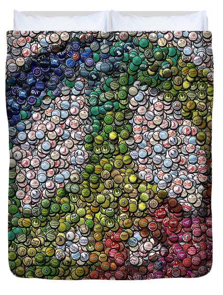 Duvet Cover featuring the digital art Peace Sign Bottle Cap Mosaic by Paul Van Scott