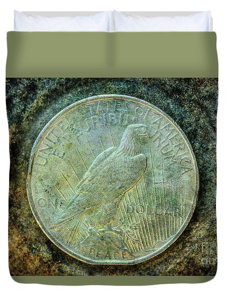 Duvet Cover featuring the digital art Peace Silver Dollar Reverse by Randy Steele