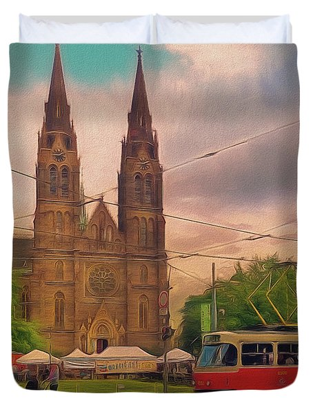 Peace Square Prague Duvet Cover