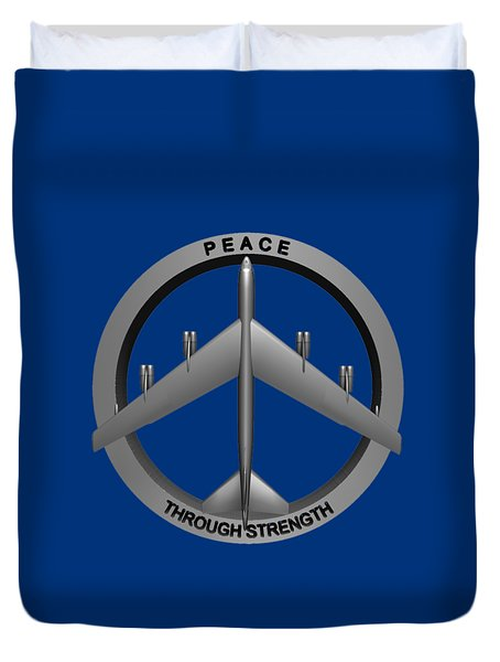 Duvet Cover featuring the sculpture Peace Through Strength by Dave Luebbert