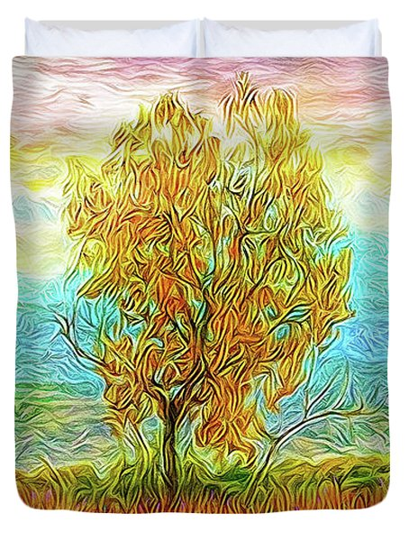 Peace Tree Sunset Duvet Cover by Joel Bruce Wallach