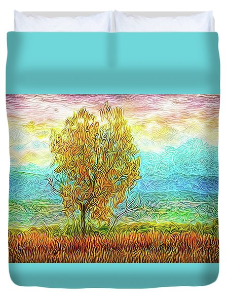 Peace Tree Sunset Duvet Cover