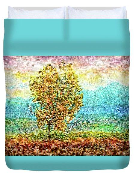 Peace Tree Sunset Duvet Cover