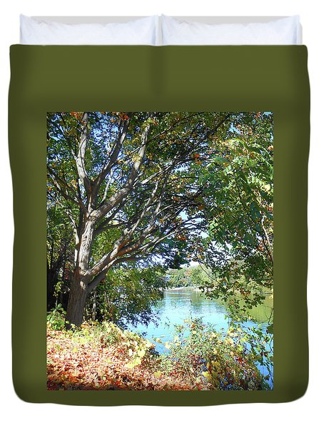 Duvet Cover featuring the photograph Peaceful Autumn Lake  by Irina Sztukowski