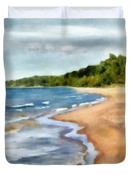 Peaceful Beach At Pier Cove Ll Duvet Cover
