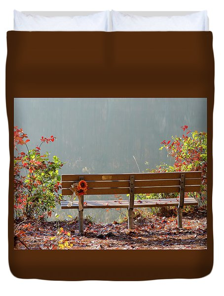Duvet Cover featuring the photograph Peaceful Bench by George Randy Bass