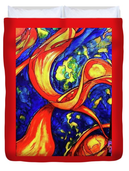 Duvet Cover featuring the painting Peaceful Coexistence by Rae Chichilnitsky