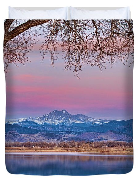 Peaceful Early Morning First Light Longs Peak View Duvet Cover