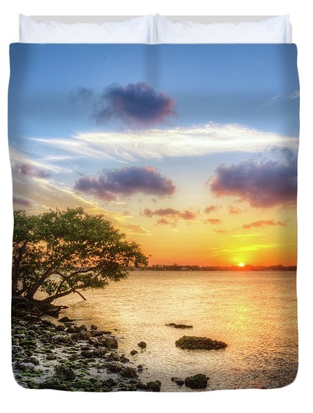 Duvet Cover featuring the photograph Peaceful Evening On The Waterway by Debra and Dave Vanderlaan