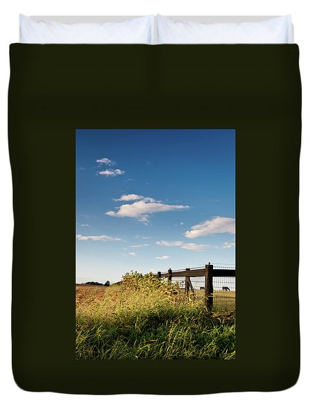 Duvet Cover featuring the photograph Peaceful Grazing by David Sutton