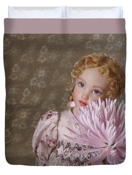 Duvet Cover featuring the photograph Peaceful Kish Doll by Nancy Lee Moran