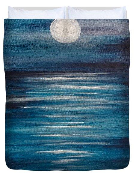 Peaceful Moon At Sea Duvet Cover