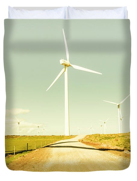 Peaceful Pastel Wind Farm Duvet Cover