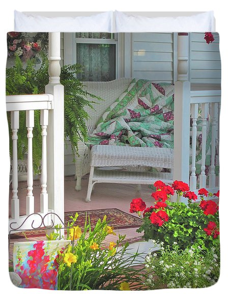 Duvet Cover featuring the photograph Peaceful Porch In A Small Town by Nancy Lee Moran