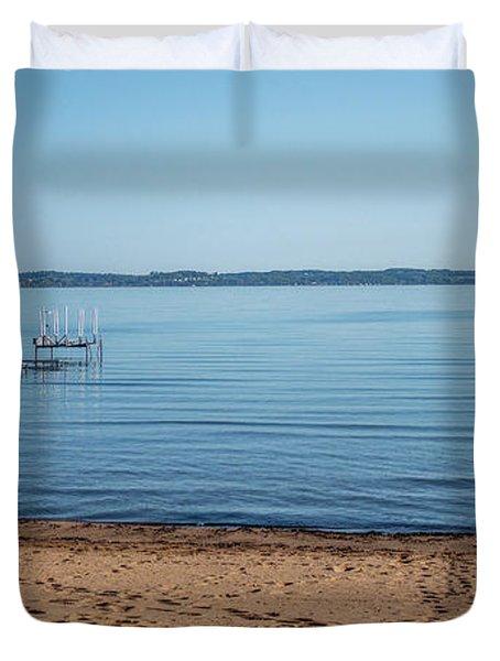 Duvet Cover featuring the photograph Grand Traverse Bay Beach-michigan  by Joann Copeland-Paul