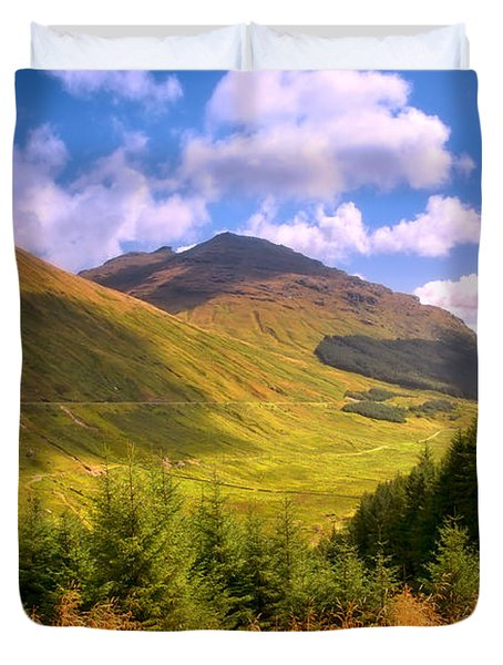 Peaceful Sunny Day In Mountains. Rest And Be Thankful. Scotland Duvet Cover