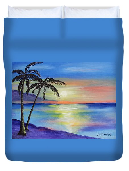 Peaceful Sunset Duvet Cover by Luis F Rodriguez