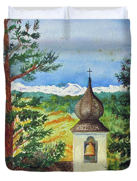 Peaceful Valley Bell Tower Duvet Cover