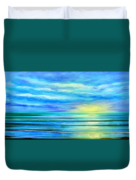 Peacefully Blue - Panoramic Sunset Duvet Cover