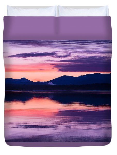 Peach And Lavender Duvet Cover by Jan Davies