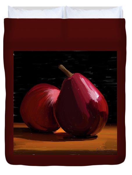 Peach And Pear 01 Duvet Cover by Wally Hampton