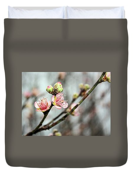 Duvet Cover featuring the photograph Peach Blossom by Kristin Elmquist