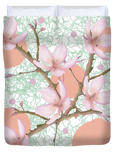 Peach Blossom Pattern Duvet Cover