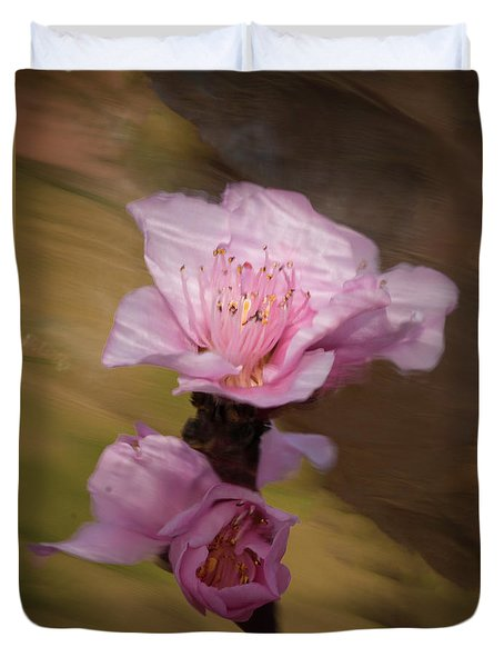 Duvet Cover featuring the photograph Peach Blossom Through Glass by David Waldrop
