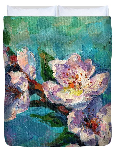 Peach Blossoms Flowers Painting Duvet Cover
