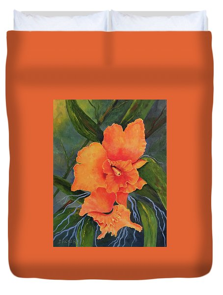 Peach  Blush Orchid Duvet Cover